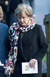 © Licensed to London News Pictures. 27/02/2017. Dummer, UK. Patricia Palmer-Tomkinson, mother of Tara Palmer Tomkinson, leaves at All Saints' Church in Dummer, Hampshire after attending her memorial service.  Tara, 45, was found dead in her home in south west London on February 8. Her older sister said that 'Tara Clare died peacefully in her sleep on February 8th 2017. Photo credit: Peter Macdiarmid/LNP