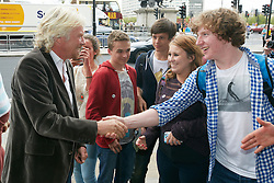 © Licensed to London News Pictures.  10/09/2012. LONDON, UK. Sir Richard Branson (pictured) arrives at the Houses of Parliament ahead of giving evidence to the Transport Select Committee. Virgin Trains lost the West Coast Mainline franchise to rival First Group. Photo credit :  Cliff Hide/LNP