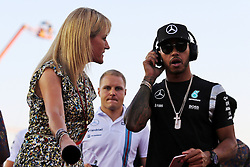 Lewis Hamilton (GBR) Mercedes AMG F1 with Rachel Brookes (GBR) Sky Sports F1 Reporter on the drivers parade.<br /> <br /> - www.xpbimages.com, EMail: requests@xpbimages.com - copy of publication required for printed pictures. Every used picture is fee-liable. © Copyright: Charniaux / XPB Images beim GP von Singapur 2016 in Singapur / 180916<br /> <br /> *** Formula One Grand Prix of Singapore at Marina Bay Street Circuit on September 18, 2016 in Singapore ***