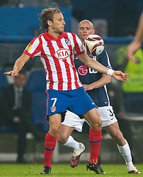 12.05.2010, Hamburg Arena, Hamburg, GER, UEFA Europa League Finale, Atletico Madrid vs Fulham FC im Bild Diego Forlan, #07, Atletico Madrid, Paul Konchesky, #03, Fulham FC, EXPA Pictures © 2010, PhotoCredit: EXPA/ J. Feichter / SPORTIDA PHOTO AGENCY