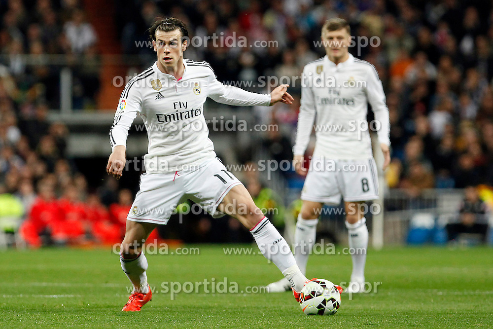 01.03.2015, Estadio Santiago Bernabeu, Madrid, ESP, Primera Division, Real Madrid vs FC Villarreal, 25. Runde, im Bild Gareth Bale of Real Madrid // during the Spanish Primera Division 25th round match between Real Madrid CF and Villarreal at the Estadio Santiago Bernabeu in Madrid, Spain on 2015/03/01. EXPA Pictures &copy; 2015, PhotoCredit: EXPA/ Alterphotos/ Caro Marin<br /> <br /> *****ATTENTION - OUT of ESP, SUI*****