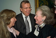 HE THE RUSSIAN AMBASSADOR YURI VIKTOROVICH FEDETOV WITH HIS WIFE ELENA FEDETOVA AND COUNTESS RAINE SPENCER. Opening of 'From Russia' Royal Academy of arts. Picadilly. London. 22 January 2008. -DO NOT ARCHIVE-© Copyright Photograph by Dafydd Jones. 248 Clapham Rd. London SW9 0PZ. Tel 0207 820 0771. www.dafjones.com.