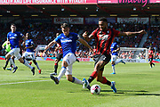 Caption correction - Joshua King (7) of AFC Bournemouth is challenged by Seamus Coleman (23) of Everton during the Premier League match between Bournemouth and Everton at the Vitality Stadium, Bournemouth, England on 15 September 2019.
