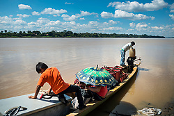 NO WEB/NO APPS - Exclusive. (Text available) Since the community has come into contact with civilization, natives organize canoe trips to Puerto Maldonado to buy goods such as clothes and soap, in 'Palma Real' native community, near Puerto Maldonado, Peru on July 17, 2017. The Amazon rainforest is famous as 'The Lung of the Earth', but also for the presence of numerous native communities, who have always lived isolated and in close contact with nature for generations, used to seek for food and medicines and to build items directly from the environment in which they live. The unstoppable rise of globalization has drastically changed their needs, expectations and consequently their way of life. Located in the Tambopata National Reserve, on the border between Peru and Bolivia, the native Comunidad Palma Real is one of the clearest examples of this change. Living on the banks of the Madre de Dios River since approximately 1976, Palma Real comprises about 300 people part of the nomadic community Ese-Eja, established in the Amazon rainforest of Peru before the Spanish colonization. Photo by Giacomo d'Orlando/ABACAPRESS.COM