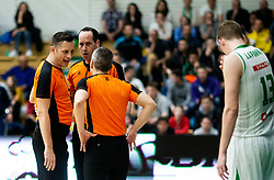 Referees Sasa Pukl, Tomislav Hordov and Saso Petek during basketball match between KK Krka and KK Petrol Olimpija in 22nd Round of ABA League 2018/19, on March 17, 2019, in Arena Leon Stukelj, Novo mesto, Slovenia. Photo by Vid Ponikvar / Sportida