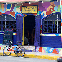 Central America, Nicaragua, San Juan del Sur. Gato Negro Book store and coffee shop in San Juan del Sur.