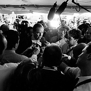 Thomas Kean speaking with the press during the 9/11 Commission's 11th Public Hearing, New York City.