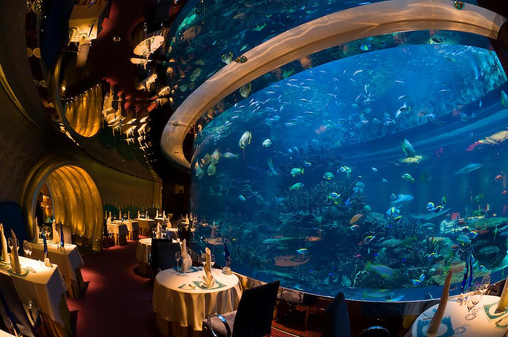 The underwater themed Al Mahara Restaurant in the Burj al Arab Hotel, Dubai, United Arab Emirates