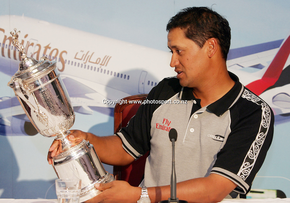 2005 US Golf Open Champion Michael Campbell talks to the press about the other names featured on the US Open trophy after arriving in Auckland this afternoon at Auckland International Airport, Auckland, New Zealand on Wednesday 27 July, 2005. Photo: Hannah Johnston/PHOTOSPORT<br /><br /><br /><br />130739