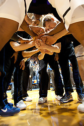 DURHAM, NC - FEBRUARY 05: Duke Blue Devils team huddles before playing the North Carolina State Wolfpack on February 05, 2011 during the first half at Cameron Indoor Stadium in Durham, North Carolina. (Photo by Peyton Williams/Getty Images)
