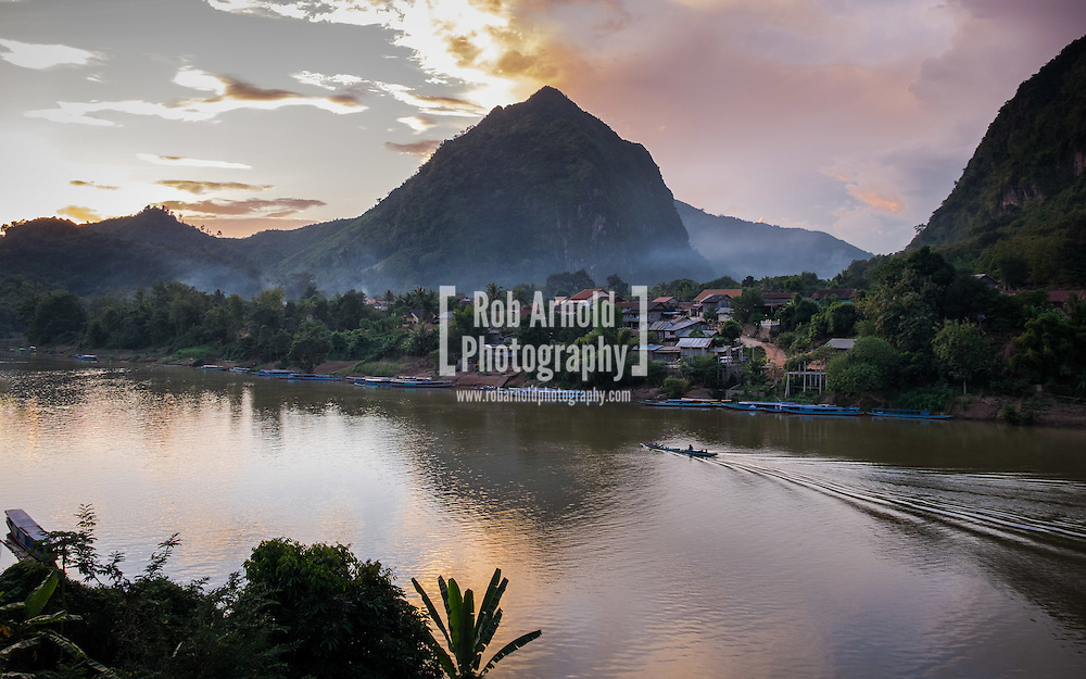 Dusk along the Nam Ou River in Nong Khiaw, Laos
