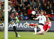 FOOTBALL: Thomas Delaney (Denmark) blocks a shot from Joshua Kimmich (Germany) during the Friendly match between Denmark and Germany at Brøndby Stadion on June 6, 2017 in Brøndby, Denmark. Photo by: Claus Birch / ClausBirch.dk.
