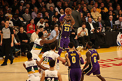 February 27, 2019 - Los Angeles, CA, U.S. - LOS ANGELES, CA - FEBRUARY 27: Los Angeles Lakers Forward LeBron James (23) shoots from three point line during second half of the New Orleans Pelicans versus Los Angeles Lakers game on February 27, 2019, at Staples Center in Los Angeles, CA. (Photo by Icon Sportswire) (Credit Image: © Icon Sportswire/Icon SMI via ZUMA Press)