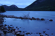 Clear calm night at Jordan Pond in Acadia National Park on Mount Desert Island.
