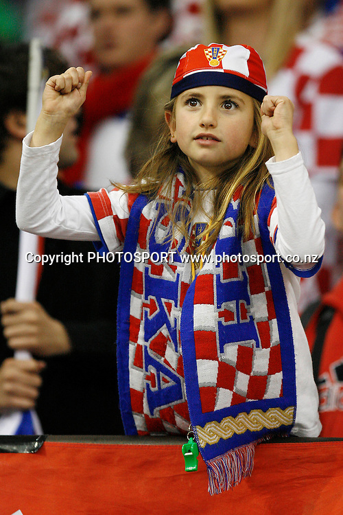 A young Croatian fan shows her support. U19 Basketball World Championship, 3rd and 4th place game, Australia v Croatia, North Shore Events Centre, Auckland. 12 July 2009. Photo: Anthony Au-Yeung/PHOTOSPORT