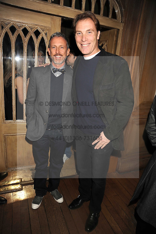 Left to right, PATRICK COX and DAMIAN ASPINALL at a party to celebrate the launch of Hollywood Domino - a brand new board game, held at Mosimann's 11b West Halkin Street, London on 7th November 2008.  The evening was in aid of Charlize Theron's Africa Outreach Project.