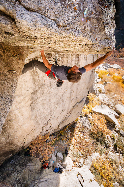 Mike Kaserman climbs Center Trinity, 5.13a, Little Cottonwood Canyon, Utah.