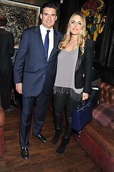EDWARD TAYLOR and The HON.PHILIPPA CADOGAN at the launch of the Johnnie Walker Blue Label Club held at The Scotch, Mason's Yard, London on 1st May 2012.