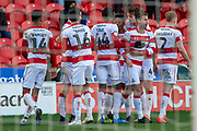 Doncaster Rovers Celebrate as they go 3-1 up during the EFL Sky Bet League 1 match between Doncaster Rovers and Wycombe Wanderers at the Keepmoat Stadium, Doncaster, England on 29 February 2020.