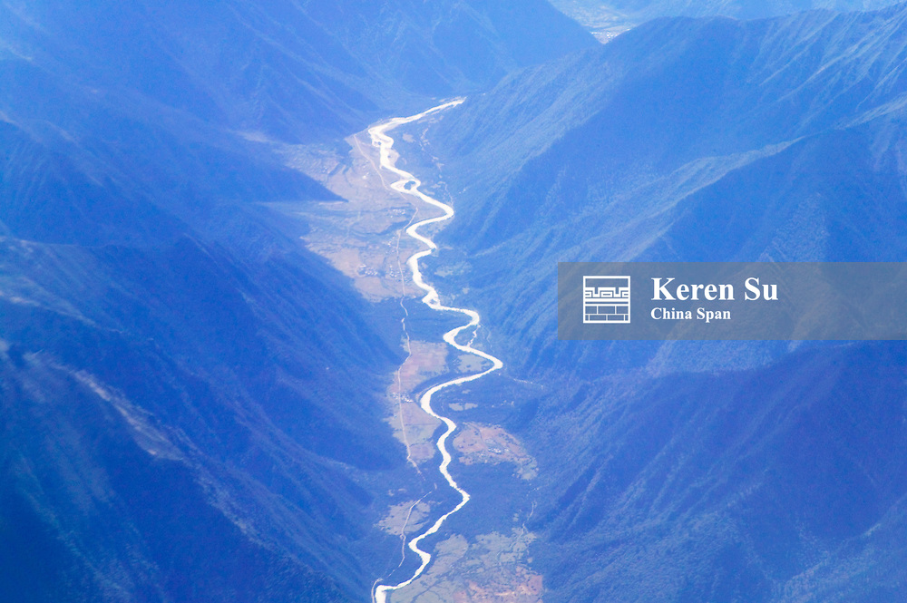 Aerial view of river flowing through mountain valleys, Himalayas, Tibetan Plateau, Tibet, China