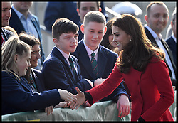 February 27, 2019 - Belfast, Belfast, United Kingdom - Duke and Duchess of Cambridge in Northern Ireland-Day One. Prince William, The Duke of Cambridge, accompanied by his wife Catherine, The Duchess of Cambridge, visit  Irish Football Association in Windsor Park, Belfast. (Credit Image: © Andrew Parsons/i-Images via ZUMA Press)