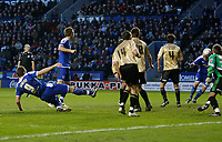 Photo: Steve Bond/Richard Lane Photography. Leicester City v Huddersfield Town. Coca Cola League One. 24/01/2009. Steve Howard (L) header is nodded home by Jack Hobbs (far R)
