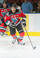KELOWNA, CANADA - OCTOBER 10: Jesse Lees #2 of the Kelowna Rockets warms up on the ice as the Spokane Chiefs visit the Kelowna Rockets on October 10, 2012 at Prospera Place in Kelowna, British Columbia, Canada (Photo by Marissa Baecker/Shoot the Breeze) *** Local Caption ***