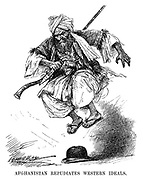 Afghanistan Repudiates Western Ideals. (a tribal Afghan jumps up and down on an English bowler hat during the InterWar era)