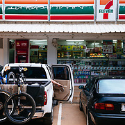 A shuttle stop at a local Thai 7-Eleven near Chiang Mai, Thailand.