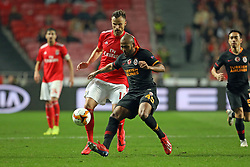 February 21, 2019 - Lisbon, Portugal - Haris Seferovic of SL Benfica (L) vies for the ball with Marcão (Marcos do Nascimento Teixeira) of Galatasaray AS (R) during the Europa League 2018/2019 footballl match between SL Benfica vs Galatasaray AS. (Credit Image: © David Martins/SOPA Images via ZUMA Wire)