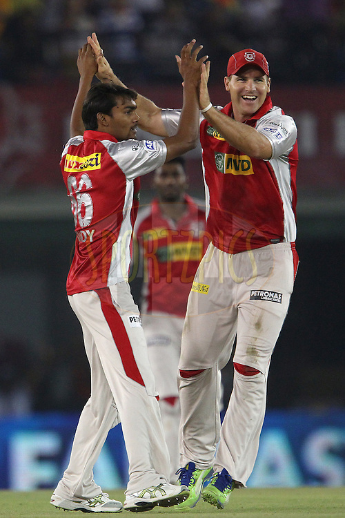 Sandeep Sharma celebrates the wicket of Hanuma Vihari with David Miller during match 59 of of the Pepsi Indian Premier League between The Kings XI Punjab and the Sunrisers Hyderabad held at the PCA Stadium, Mohal, India  on the 11th May 2013..Photo by Ron Gaunt-IPL-SPORTZPICS ..Use of this image is subject to the terms and conditions as outlined by the BCCI. These terms can be found by following this link:..http://www.sportzpics.co.za/image/I0000SoRagM2cIEc