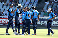 The Titans celebrate the wicket of Richard Levi during the Standard Bank Pro20 semi final match between the Nashua Mobile Cape Cobras and the Nashua Titans held at Sahara Park Newlands in Cape Town on the 27 February 2011..Photo by Ron Gaunt/SPORTZPICS