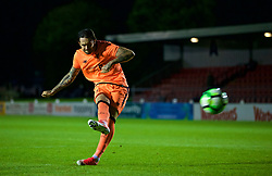 LEYLAND, ENGLAND - Friday, September 1, 2017: Liverpool's Danny Ings scores the second penalty as his side win the shoot-out 5-4 during the Lancashire Senior Cup Final match between Fleetwood Town and Liverpool Under-23's at the County Ground. (Pic by Propaganda)