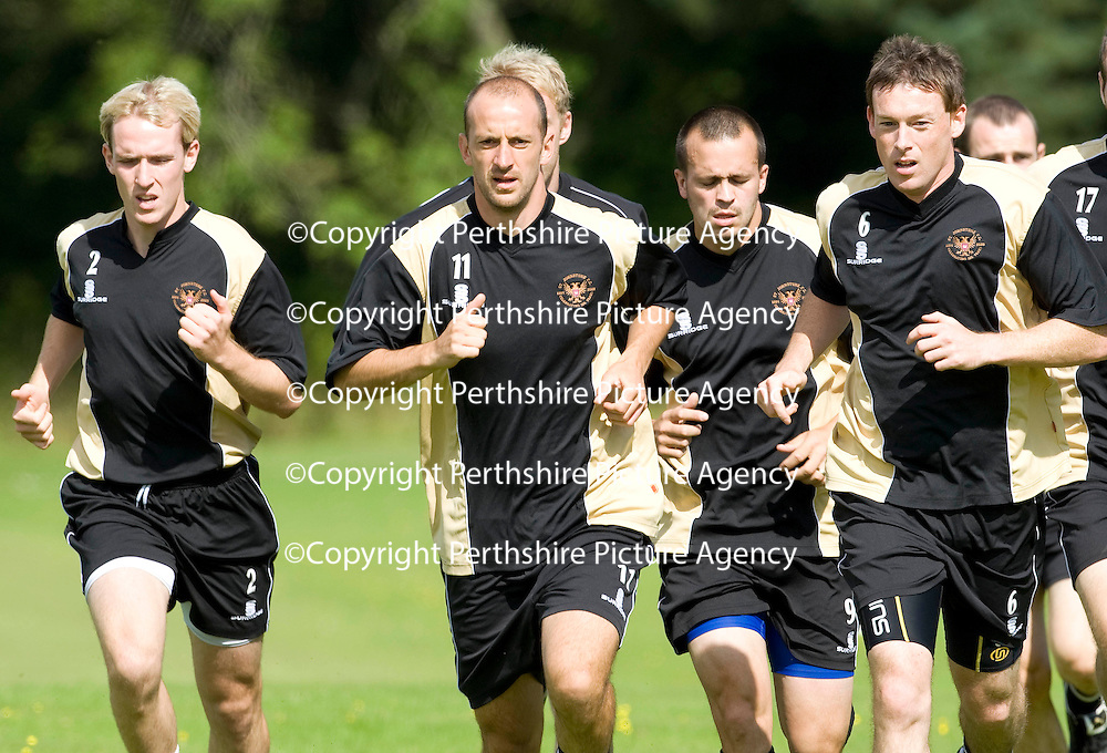 St Johnstone Training....07.08.09<br /> Paul Sheerin leads a run during training this morning, alongside him is Gary Irvine, Steven Milne and Stuart McCaffrey ahead of tomorrow's friendly against Burnley<br /> Perthshire Picture Agency<br /> Tel: 01738 623350  Mobile: 07990 594431