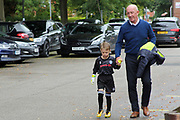 Fans young and old arrive pre-match during the EFL Sky Bet League 1 match between Rochdale and Gillingham at Spotland, Rochdale, England on 23 September 2017. Photo by Daniel Youngs.