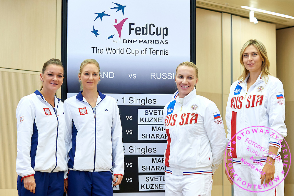 (L-R) Agnieszka Radwanska and Urszula Radwanska both from Poland and Svetlana Kuznetsova and Maria Sharapova both from Russia pose to picture during official draw one day before the Fed Cup / World Group 1st round tennis match between Poland and Russia at Holiday Inn on February 6, 2015 in Cracow, Poland.<br /> <br /> Poland, Cracow, February 6, 2015<br /> <br /> Picture also available in RAW (NEF) or TIFF format on special request.<br /> <br /> For editorial use only. Any commercial or promotional use requires permission.<br /> <br /> Adam Nurkiewicz declares that he has no rights to the image of people at the photographs of his authorship.<br /> <br /> Mandatory credit:<br /> Photo by &copy; Adam Nurkiewicz / Mediasport