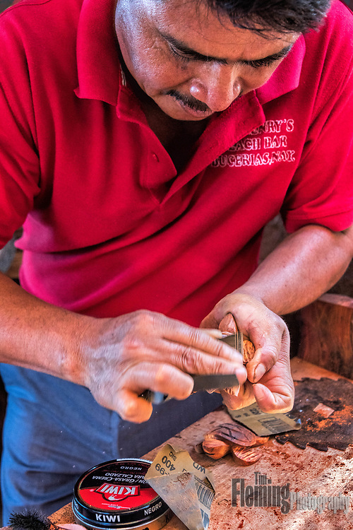 Christino is a craftsman who creates beautiful carved figures in his workshop in Bucerias, Mexico.