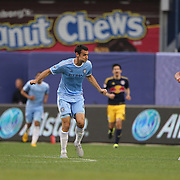 Andrew Jacobson, NYCFC, in action during the New York City FC Vs New York Red Bulls, MSL regular season football match at Yankee Stadium, The Bronx, New York,  USA. 28th June 2015. Photo Tim Clayton