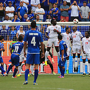 Rodolfo Zelaya, El Salvador, scores the first of his two goals as he strikes a free kick over the wall during the El Salvador Vs Trinidad and Tobago CONCACAF Gold Cup group B football match at Red Bull Arena, Harrison, New Jersey. USA. 8th July 2013. Photo Tim Clayton