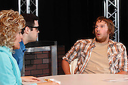 "(from left) Teresa Connair as Roberta, Aaron Brewer as Virgil, and Christopher Hahn as Eldon during a dress rehearsal of ""The Dead Guy"" at the Dayton Theatre Guild on Wayne Avenue in Dayton, Thursday, May 29, 2014."
