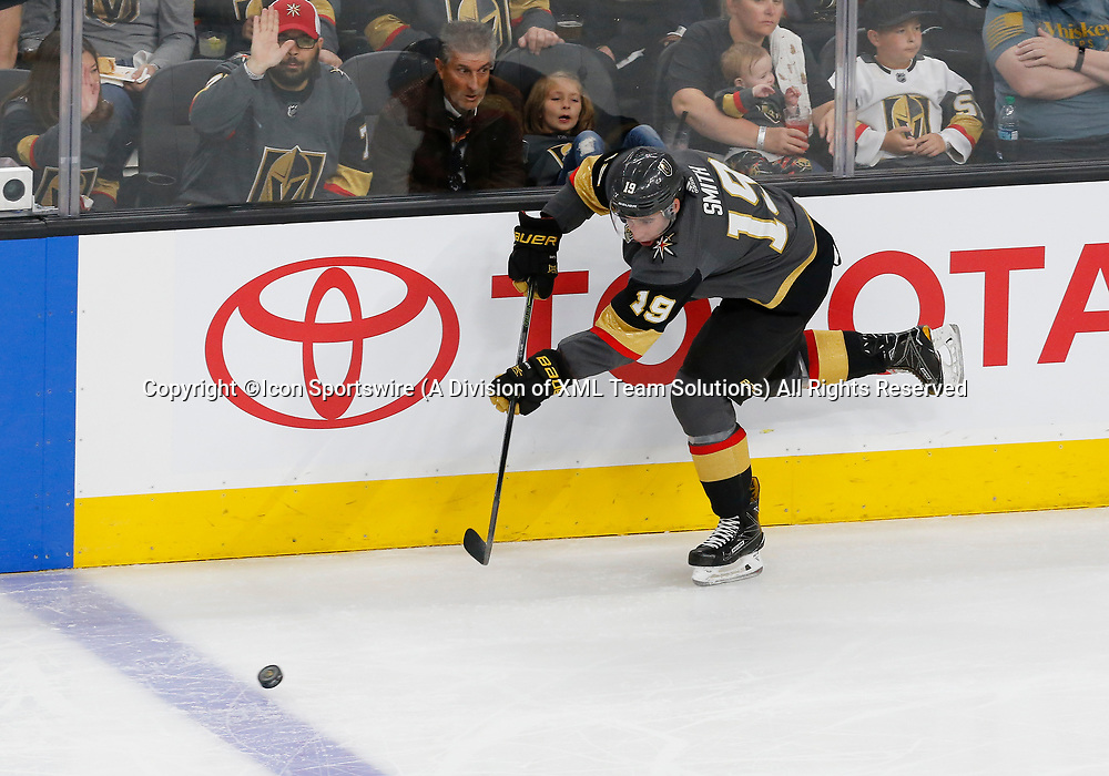 LAS VEGAS, NV - APRIL 11: Vegas Golden Knights right wing Reilly Smith (19) passes the puck during Game One of the Western Conference First Round of the 2018 NHL Stanley Cup Playoffs between the L.A. Kings and the Vegas Golden Knights Wednesday, April 11, 2018, at T-Mobile Arena in Las Vegas, Nevada. The Golden Knights won 1-0.  (Photo by: Marc Sanchez/Icon Sportswire)