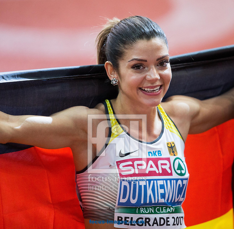 Third placed Pamela Dutkiewicz of Germany celebrates after the 60m Hurdles Women Final on day one of the 34th European Indoor Athletics Championships Belgrade 2017 at the Kombank Arena, Belgrade<br /> Picture by EXPA Pictures/Focus Images Ltd 07814482222<br /> 03/03/2017<br /> *** UK &amp; IRELAND ONLY ***<br /> <br /> EXPA-SLO-170303-0008.jpg