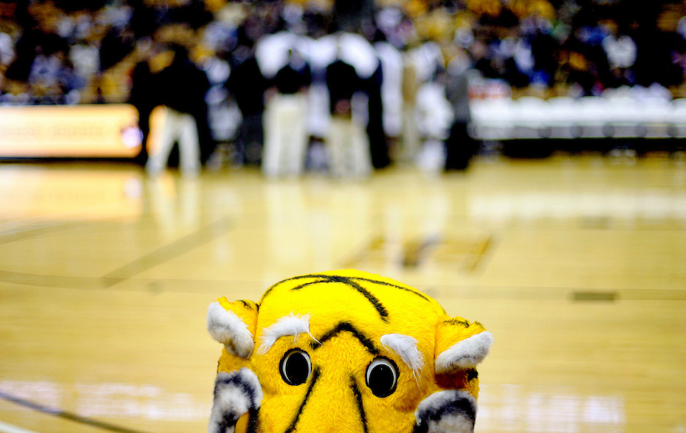 "Mizzou mascot ""Truman The Tiger"" during the second half of the basketball game between the Missouri Tigers and Arkansas-Pine Bluff Lions at Mizzou Arena in Columbia, Mo. Saturday night, Dec. 19, 2009. Missouri defeated the Lions 88-70."