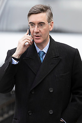 © Licensed to London News Pictures. 18/12/2019. London, UK. Leader of the House of Commons Jacob Rees-Mogg departs The Houses of Parliament .  Photo credit: George Cracknell Wright/LNP