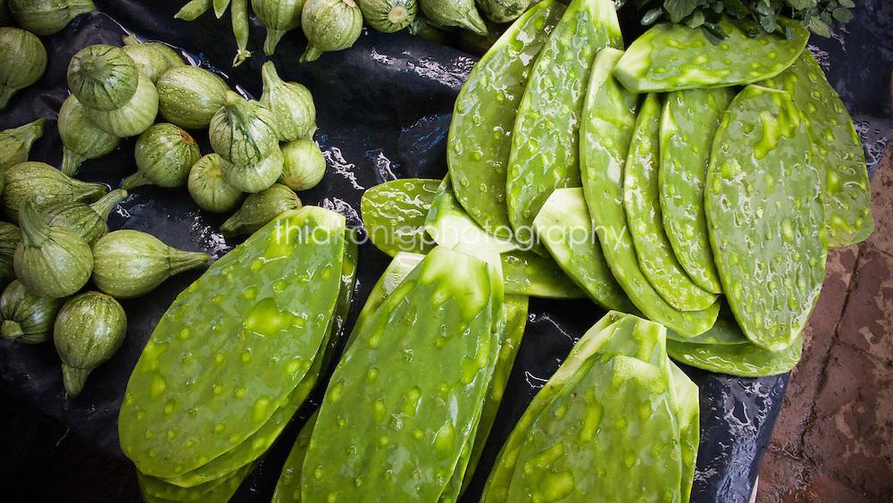 Nopal cactus leaves for sale at market, Valle de Bravo, Mexico