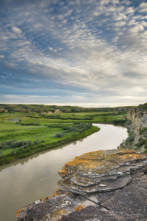 Sandstone cliffs overlooking the Milk River, Writing on Stone Provincial Park Alberta Canada