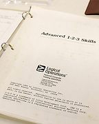 A 1985 course work book, made by Logical Operations in Rochester on Thursday, May 28, 2015.