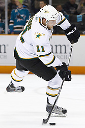 December 13, 2010; San Jose, CA, USA;  Dallas Stars center Aaron Gagnon (11) warms up before the game against the San Jose Sharks at HP Pavilion.  Dallas defeated San Jose 3-2 in shootouts. Mandatory Credit: Jason O. Watson / US PRESSWIRE