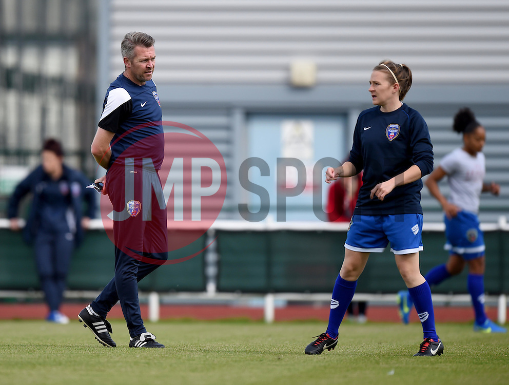 Willie Kirk manager of Bristol Academy Women looks on as hie players warm-up - Mandatory by-line: Paul Knight/JMP - Mobile: 07966 386802 - 13/09/2015 -  FOOTBALL - Stoke Gifford Stadium - Bristol, England -  Bristol Academy Women v Liverpool Ladies FC - FA WSL Continental Tyres Cup
