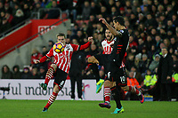 Football - 2016 / 2017 Premier League - Southampton vs. Liverpool<br /> <br /> Dejan Lovren of Liverpool and Southampton's Steven Davis compete for the ball during the hard fought draw at St Mary's Stadium Southampton England<br /> <br /> COLORSPORT/SHAUN BOGGUST